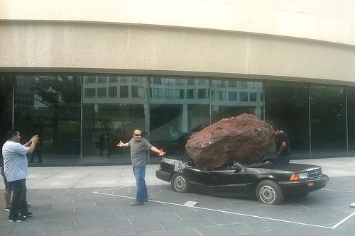 Rock crushes car at Hirshhorn Gallery
