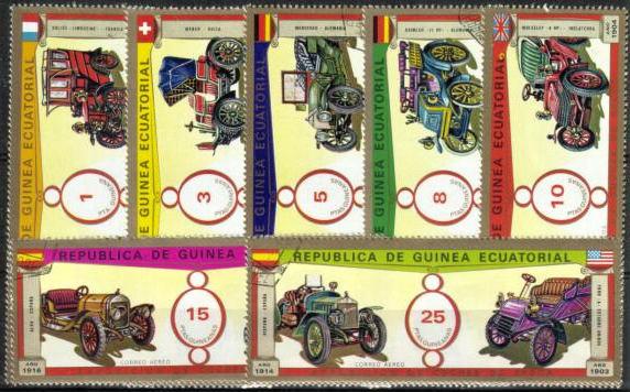 Známky Rovníková Guinea 1976 Autá veterány, razítkovaná séria