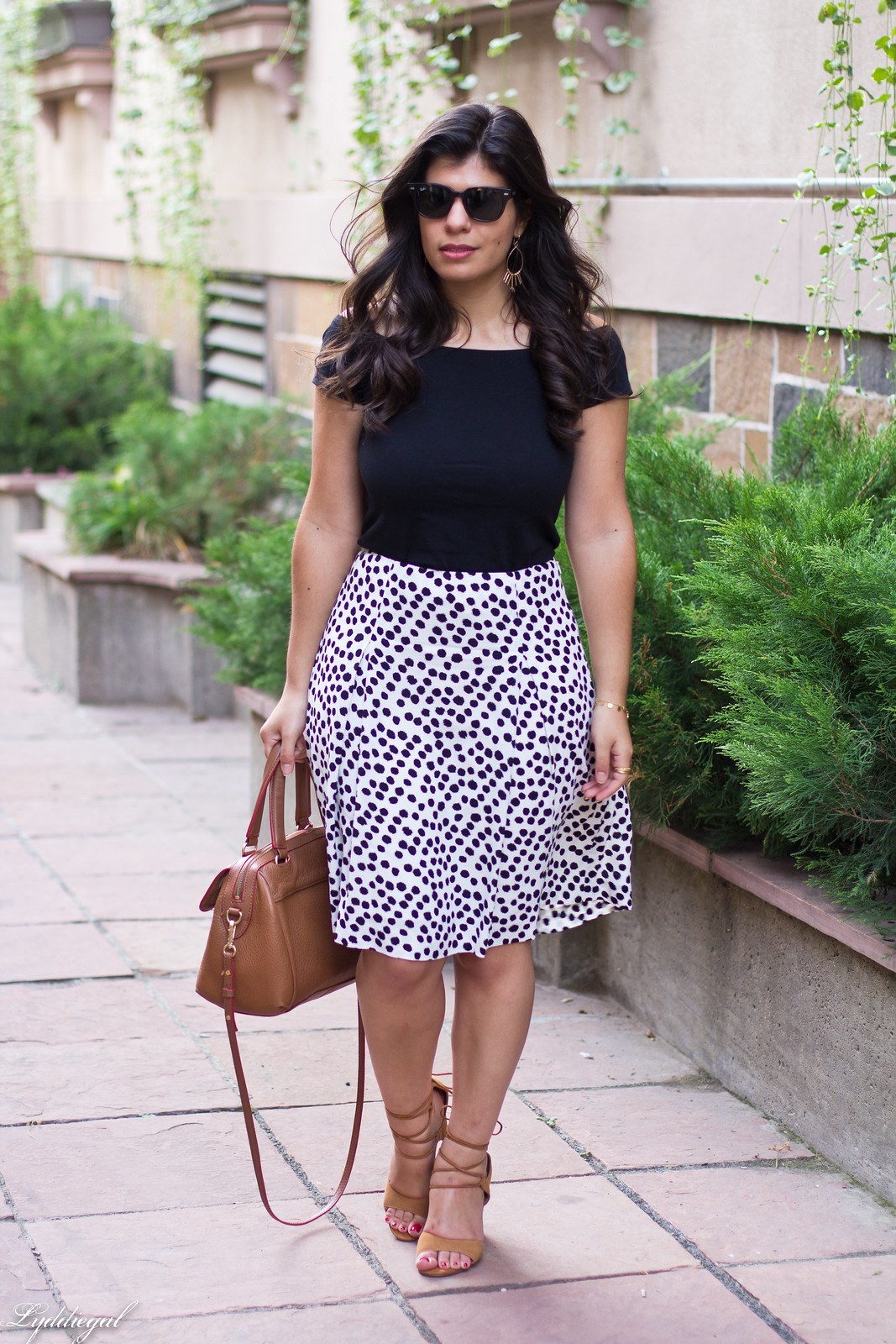 dalmatian print skirt, off the shoulder tee, lace up heels.jpg