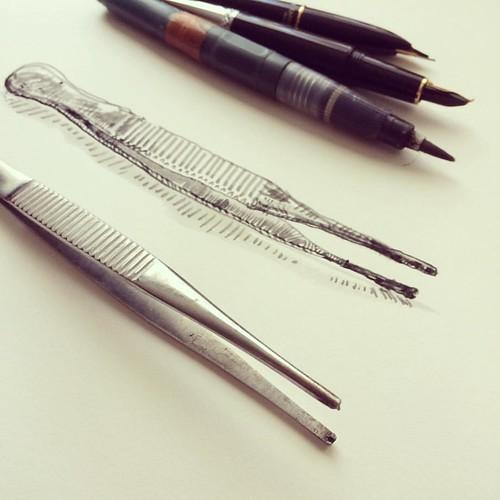 Instruments #pincers #sketchbook #instrument #brushpen #ink #pincer #draw #dailydrawing #everydaytools #tools #everydaylife