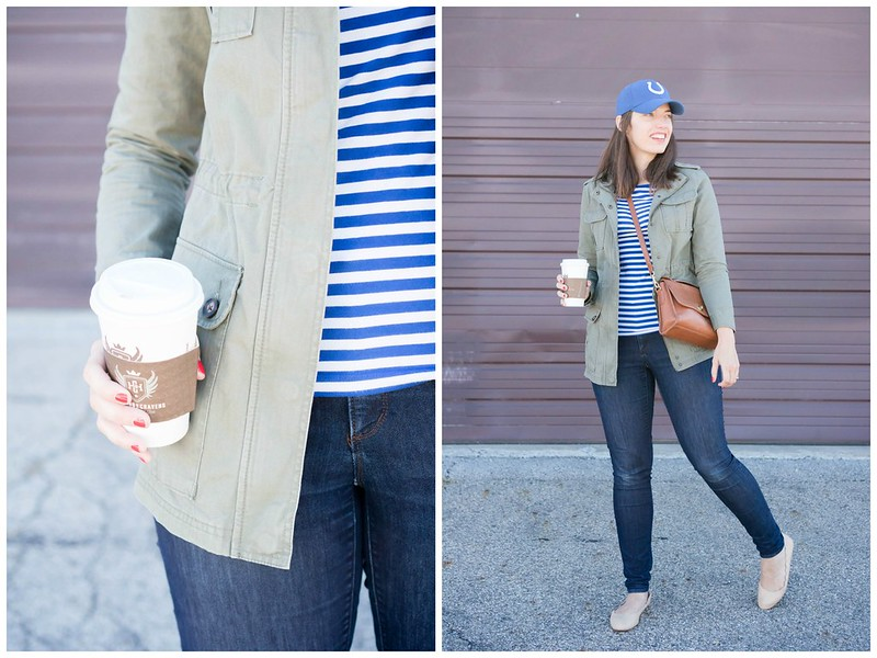 blue and white stripe tee + green utility jacket + loft jeans + beige scallop flats; casual fall outfit | Style On Target blog