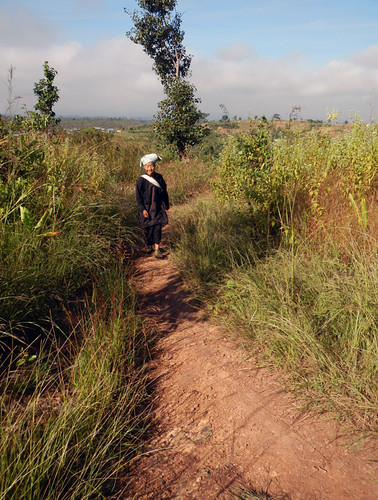 A woman on the path on our Inle Lake trek in Myanmar