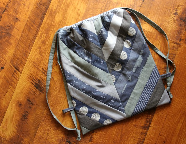Denim Drawstring Backpack