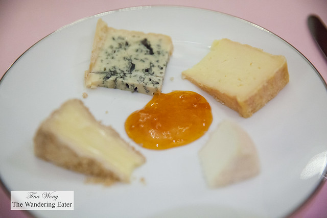 My plate of cheeses with a housemade apricot jam in the center