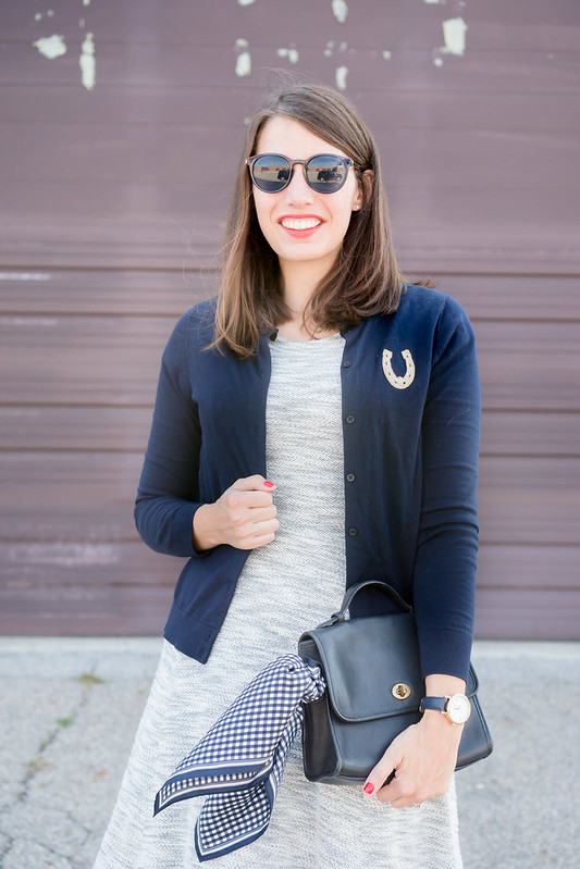 gray tweed Old Navy dress + navy gingham scarf + J.Crew Factory horseshoe cardigan + navy sunglasses | Style On Target blog