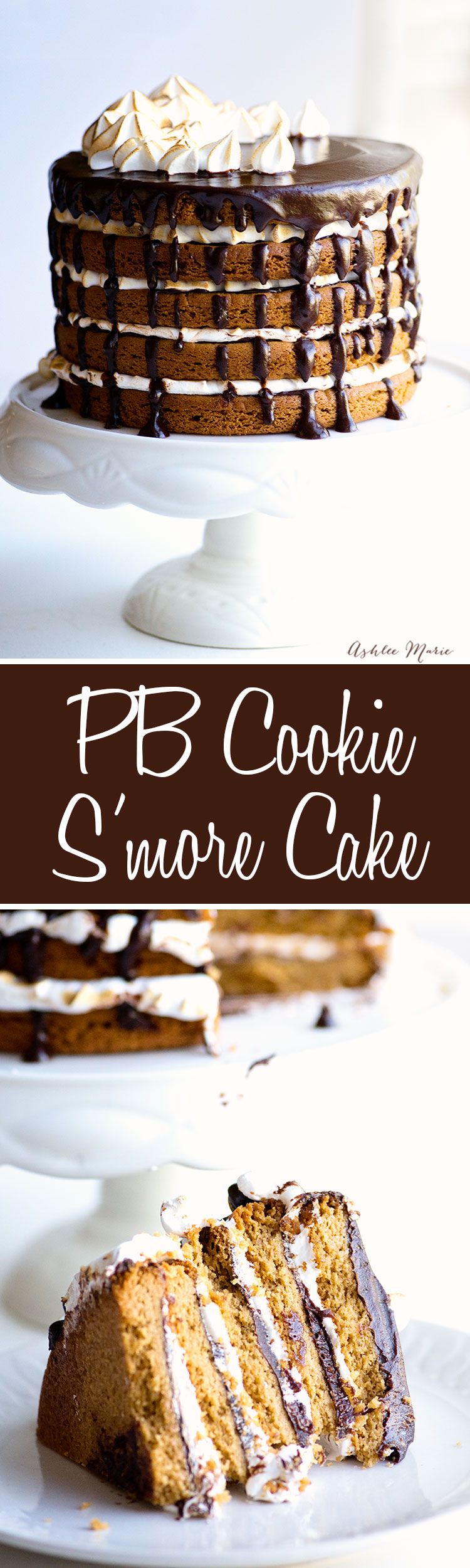 large peanut butter cookies layered with chocolate ganache and homemade marshmallow fluff creates a decadent S'more cookie cake!