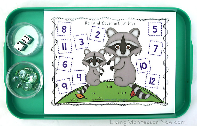 Raccoon Roll and Cover Addition (or Number Recognition) Activity
