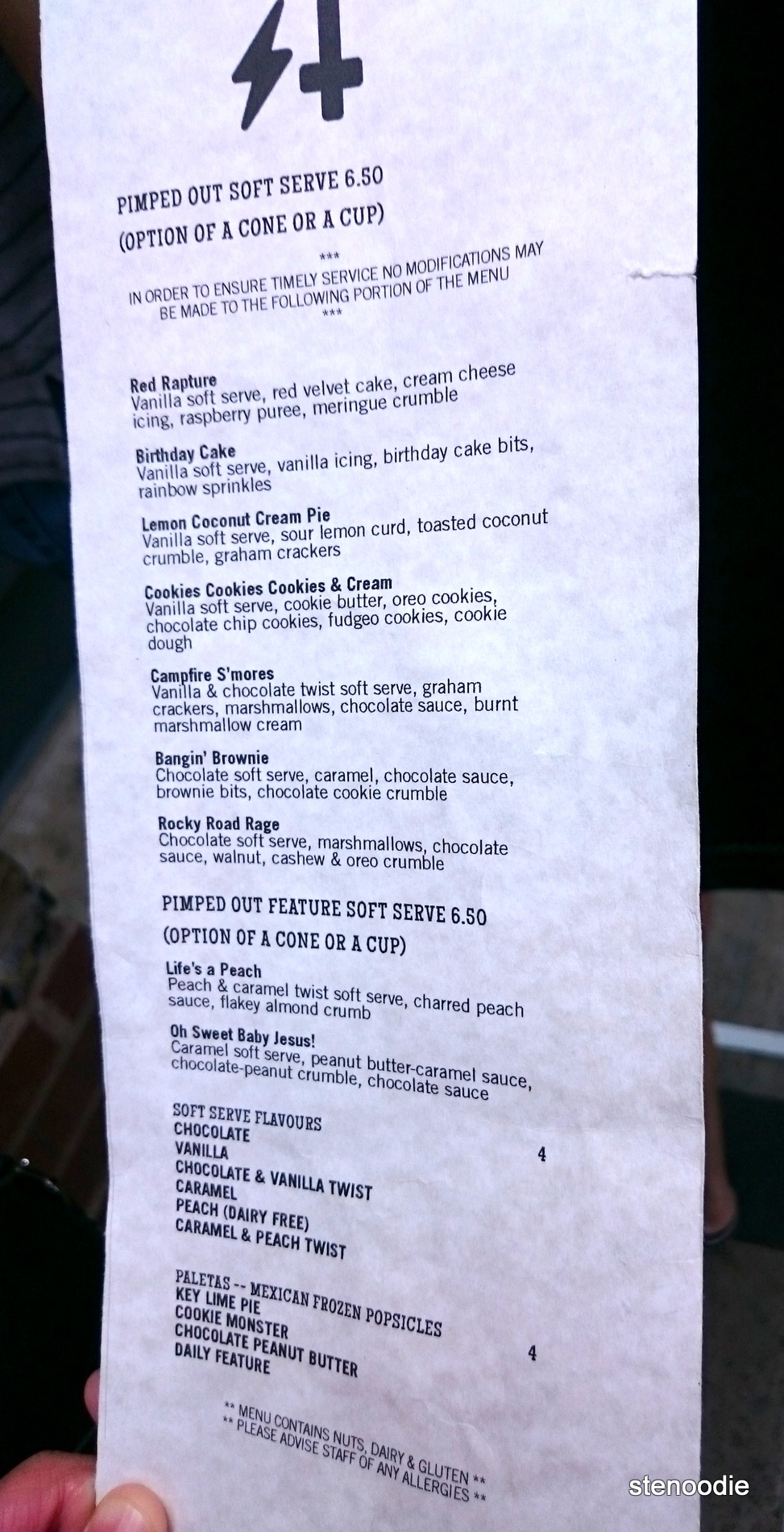 Sweet Jesus ice cream menu and prices