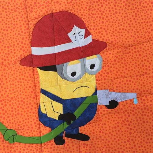 """Minion Fireman 12"""" paper pieced and embroidered quilt block"""