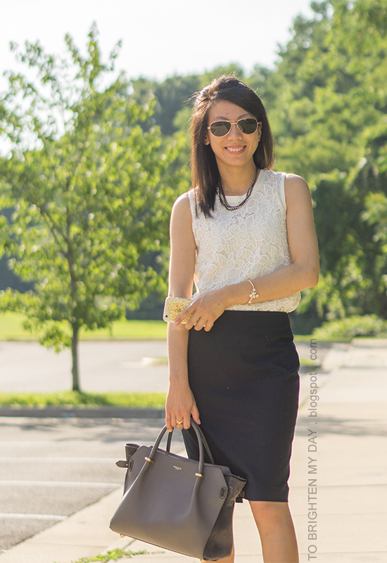 mixed chain necklace, sleeveless lace top, navy pencil skirt, floral cuff, gray tote