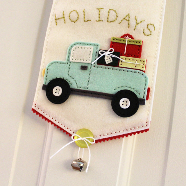 Happy Holidays Door Hanger - Truck & Bell