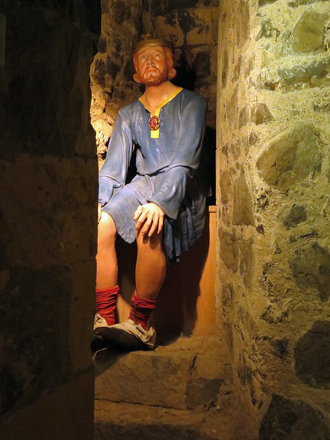 The king sits on the 'loo' at the medieval castle of Carrickfergus along the Coastal Causeway Route of Ireland, UK