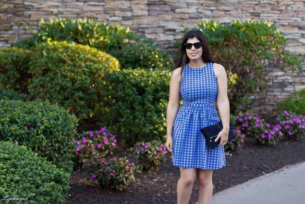 blue print cutout dress, fringe pumps, clare v clutch-1.jpg