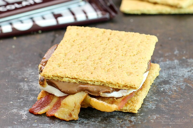 Bacon S'mores close up with a Hershey's Chocolate bar.