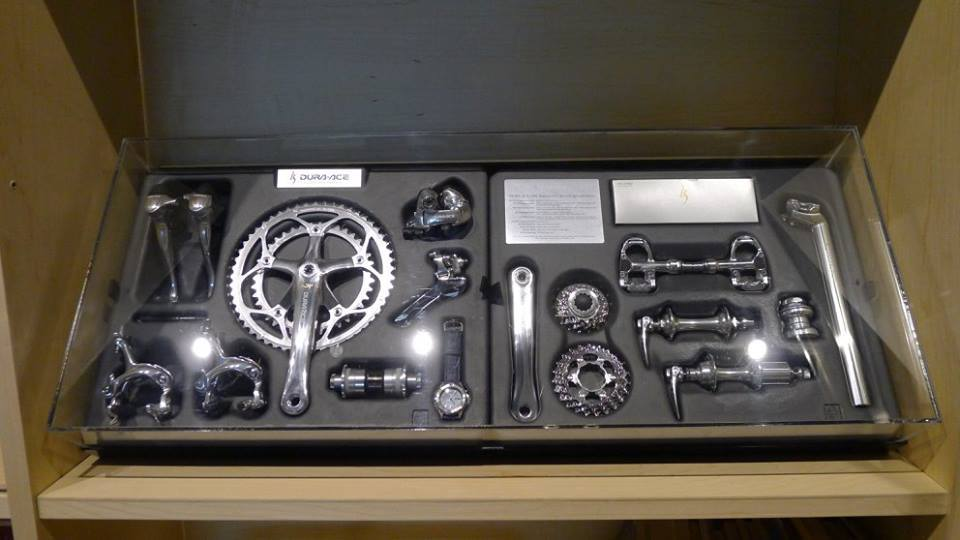 """0f28aea868d Shimano's Dura-Ace 7400-series """"25th Anniversary"""" groupset, on display at  Shimano Cycling World in Singapore. Note the headset and seatpost at the  far right ..."""