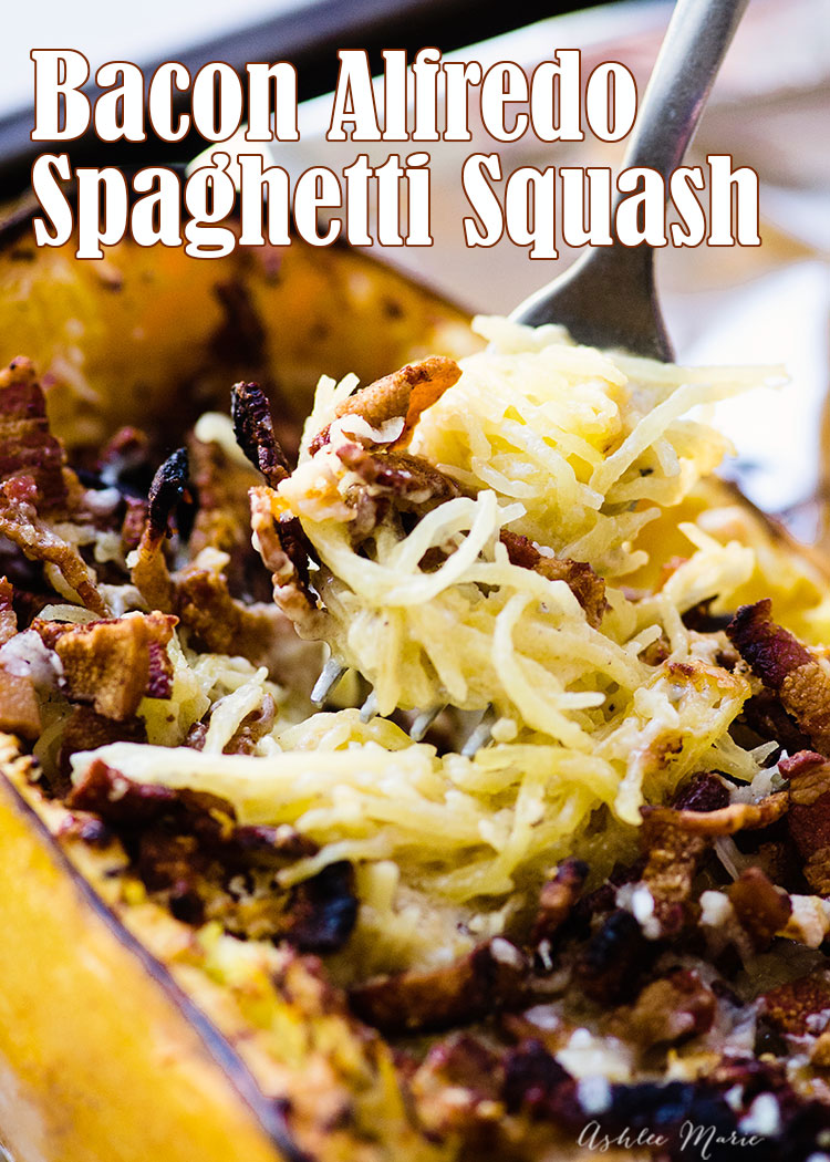 I love using spaghetti squash in place of pasta - it means I can use bacon grease to make this alfredo tastes even better,