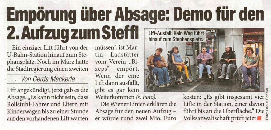 HEUTE: Demo für 2. Aufzug am Steffl