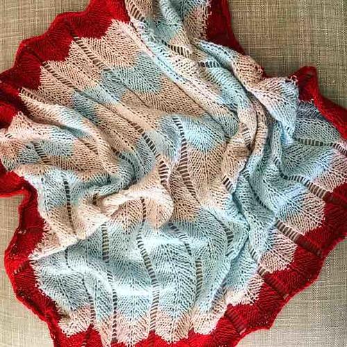 First #ravellenics2016 project done! The yarn bled but it is still lovely. #ravelry #ravellenicgames #knitstagram #knitting #redwhiteblue #ricobaby #chevron
