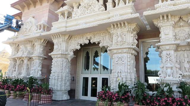 Flowers on Exterior of Swaminarayan Akshardham; September 2016  Swaminarayan Akshardham Mandir in Robbinsville, NJ;  BAPS.org/Robbinsville IMG_0266