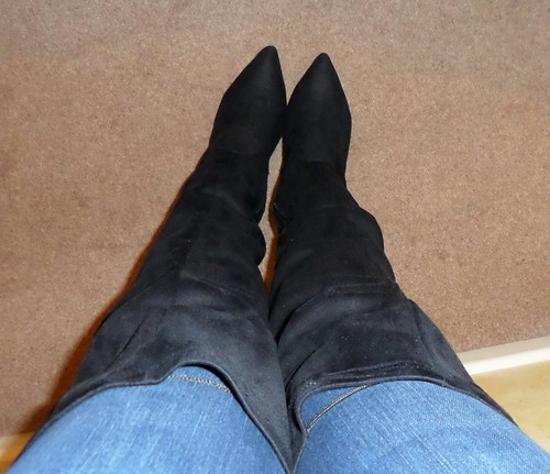 New Look OTK black faux suede boots