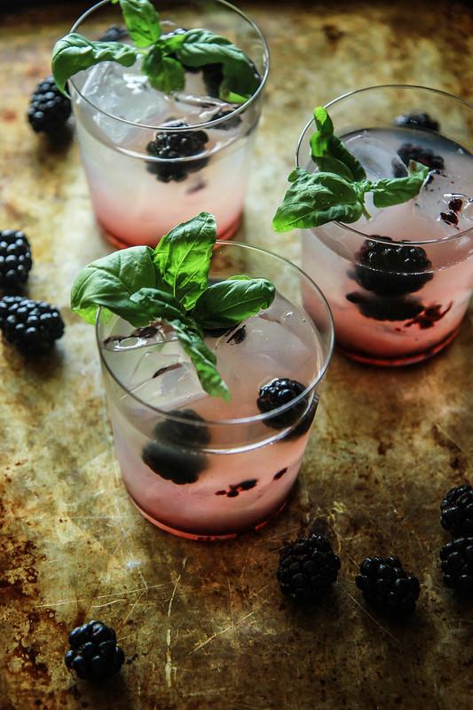 Blackberry Honey Basil Whiskey Lemonade - Heather Christo