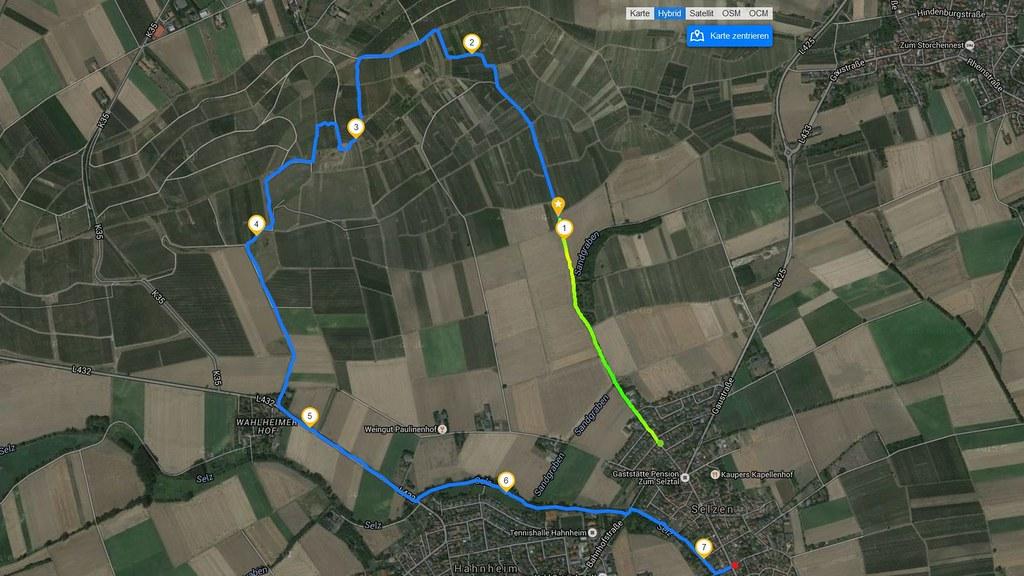 Wanderroute bei Selzen, Hahnheim, Zornheim