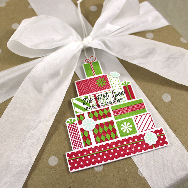 Christmas Packages Tag Close Up