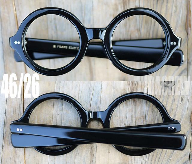 frame franceフランス製ビンテージ眼鏡ラウンドブラック黒縁