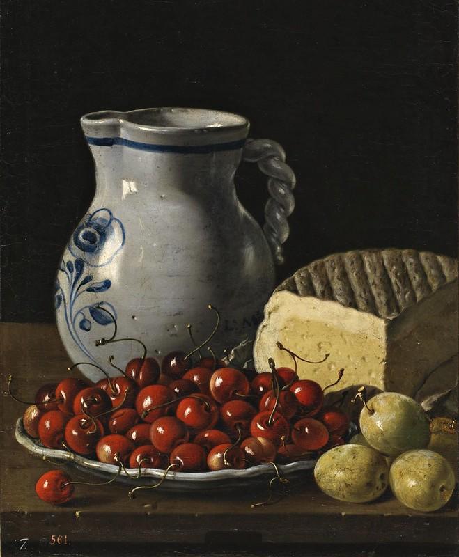 Luis Eugenio Meléndez - Bodegón con plato de cerezas, ciruelas, jarra y queso