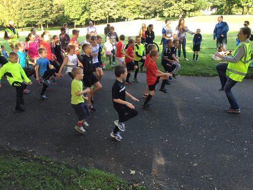 Salford juniors warm up