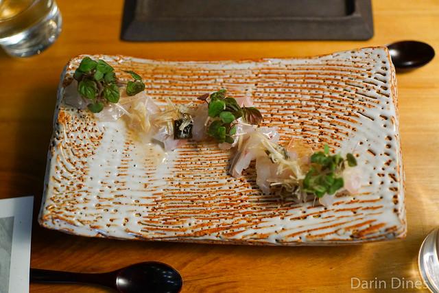 japanese sea-bream sashimi, ginger bud, pickled plum-irizake