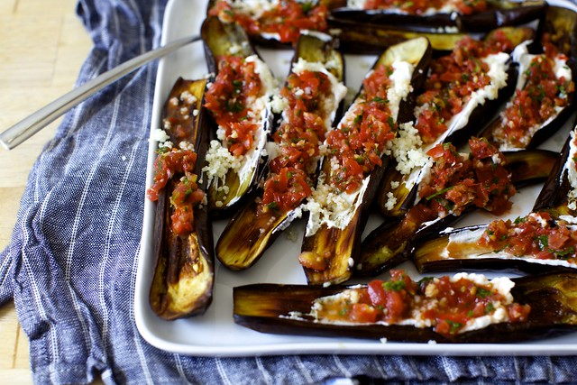 eggplant with yogurt and tomato relish