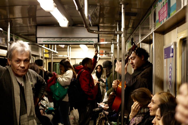 Busker on the subway train, Buenos Aires