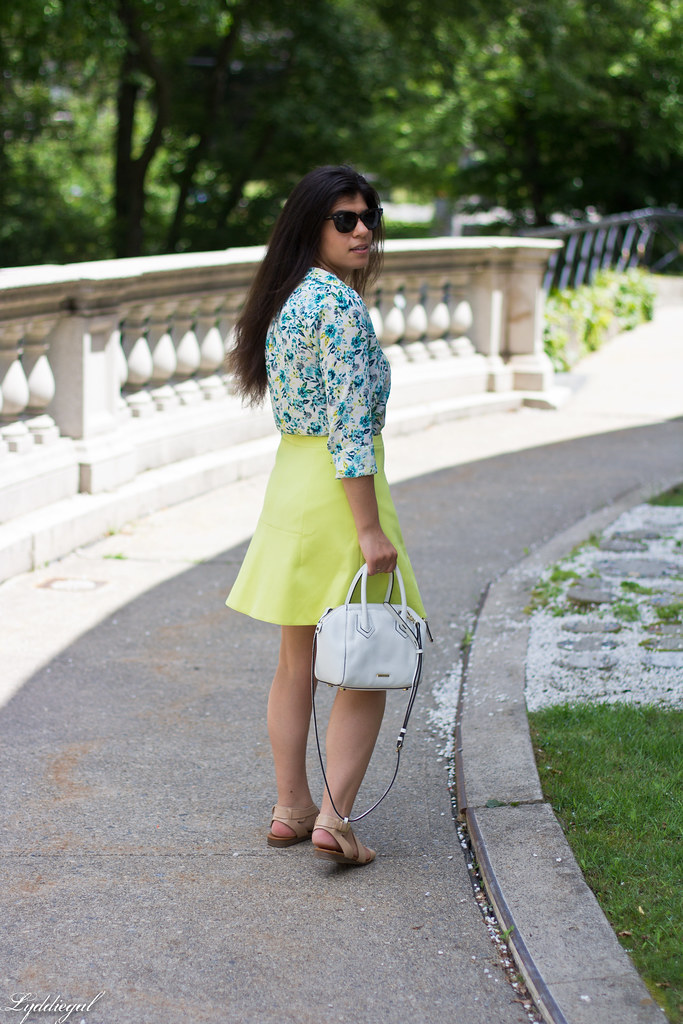 floral blouse, neon skirt, white bag, gorjana vista cuff-3.jpg