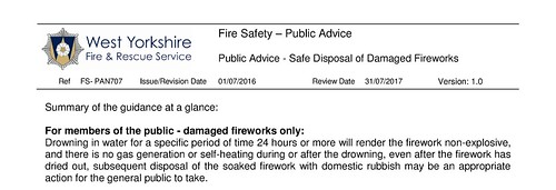 West Yorks Fire Disposal of Fireworks CFOA