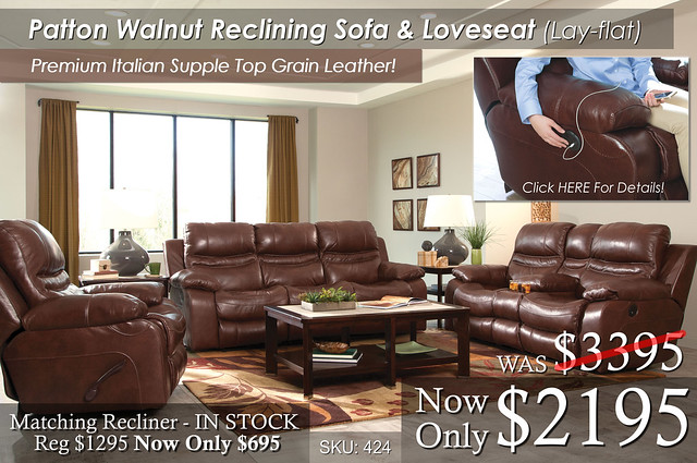 Patton Walnut Reclining Living Set NEW