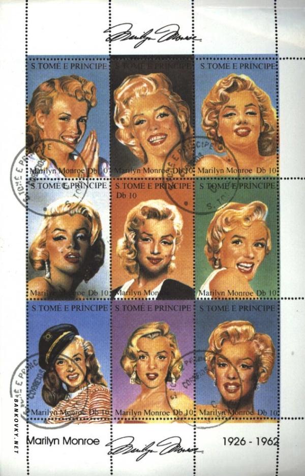 Známky Svätý Tomáš 1994 Marilyn Monroe, razÃ-tkovaný hárok