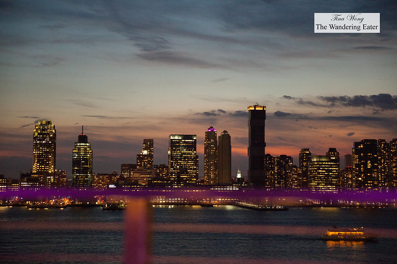 View of the sunset; looking across the Hudson River and part of New Jersey