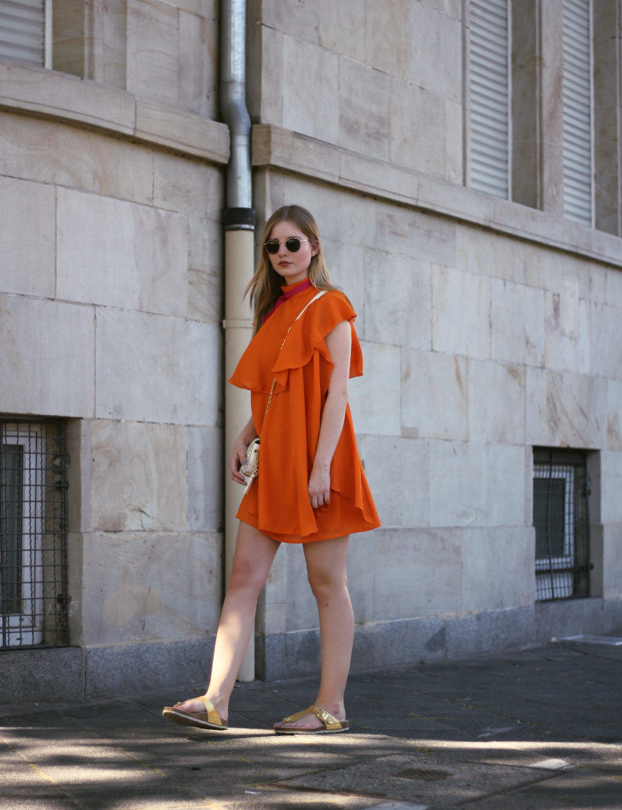 outfit orange dress turtle neck city look sunglasses gold white bag zara birkenstock asos