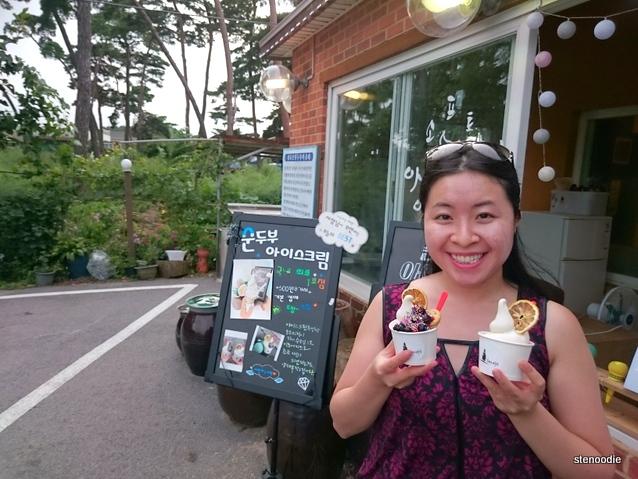 eating tofu soft ice cream