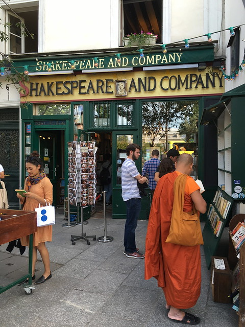 Buddhist monk at Shakespeare and Company. Paris, France