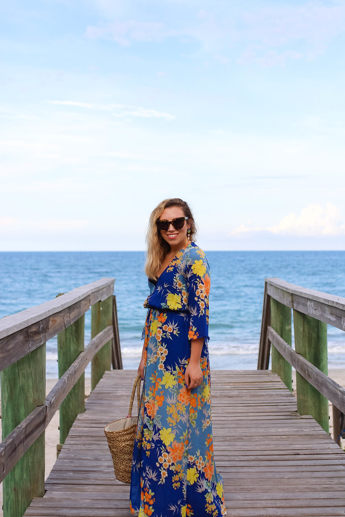 How to Get Smooth Legs for Summer Vacation with Sally Hansen | Sally Hansen Wax Strips | Guess Blue Floral Maxi Duster Dress | Steve Madden Lace Up Gold Sandals | Straw Tote Bag | Summer Vacation Outfit | Travel Style Inspiration | Vero Beach Florida | Li