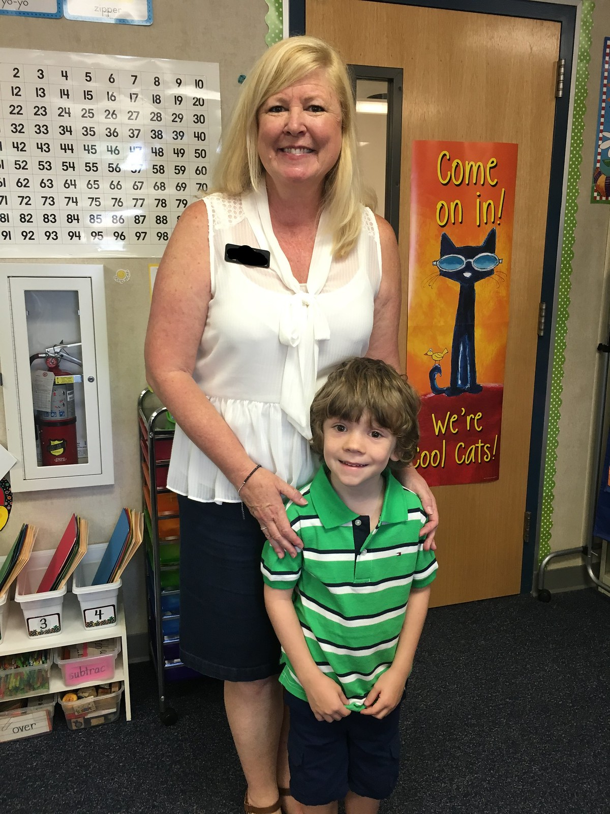 With his first grade teacher