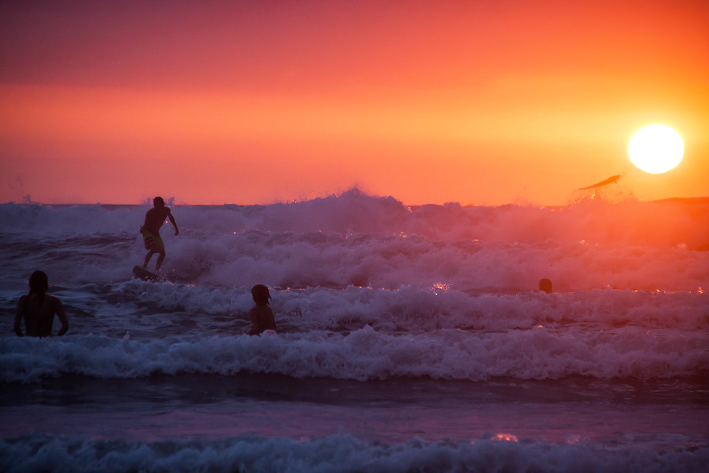 Surfers at Sunset on Playa Guiones - Costa Rica