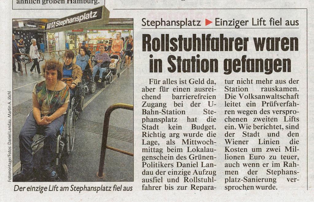 Krone: Rollstuhlfahrer waren in Station gefangen