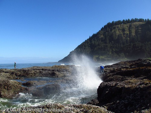 Waves crash on the ancient lava flows at Cape Perpetua, Oregon