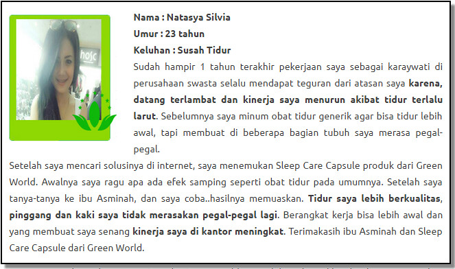 Harga Asli Sleep Care Capsule Green World