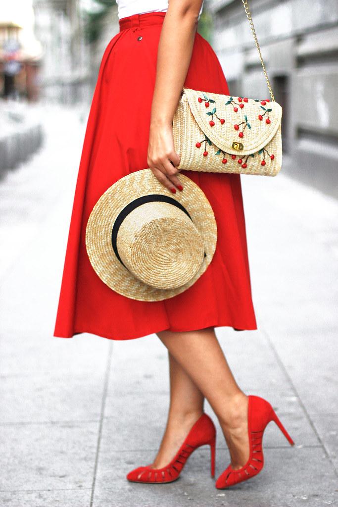 red midi skirt5