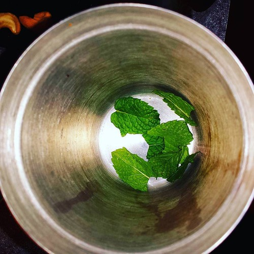 Mojito I: It starts with mint. 8 leaves, lightly crushed and put in the shaker. #mojito #yum #rum