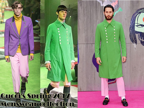 Men's Gucci pink trousers with bright green coat: Colour block